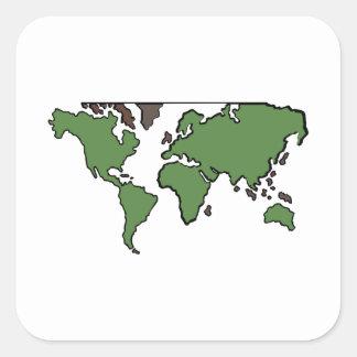 Carte plate de continents sticker carré