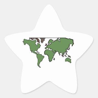 Carte plate de continents autocollant en étoile