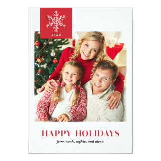 Carte plate de flocons de neige de photo rouge carton d'invitation  12,7 cm x 17,78 cm