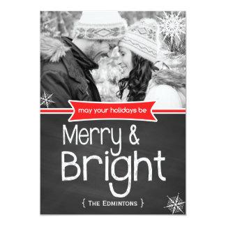 Carte plate de joyeuses vacances rouges lumineuses carton d'invitation  12,7 cm x 17,78 cm