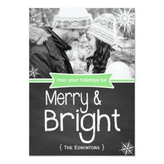 Carte plate de joyeuses vacances vert clair de carton d'invitation  12,7 cm x 17,78 cm