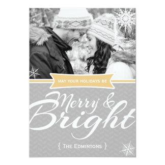 Carte plate de Joyeux et lumineux Noël de flocon Invitations Personnalisées