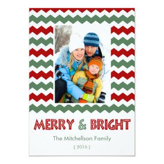 Carte plate de Joyeux Noël vert rouge lumineux Faire-part Personnalisés