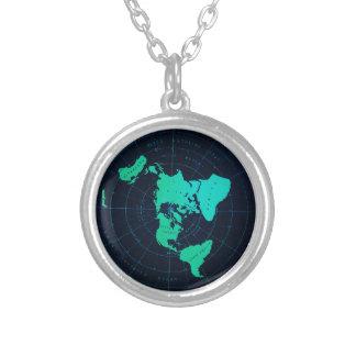 Carte plate de la terre (projection équidistante pendentif rond