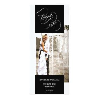 Carte plate de mariage de photo de Merci noir de Carton D'invitation 10,16 Cm X 23,49 Cm