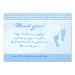 Carte plate de Merci bleu de baby shower de pieds Carton D'invitation 12,7 Cm X 17,78 Cm