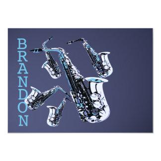 Carte plate de Merci de musique de saxophone Carton D'invitation 11,43 Cm X 15,87 Cm