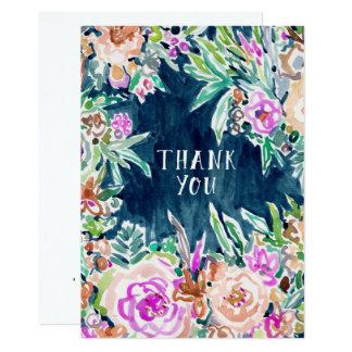 Carte plate de MERCI floral coloré TELLEMENT RICHE