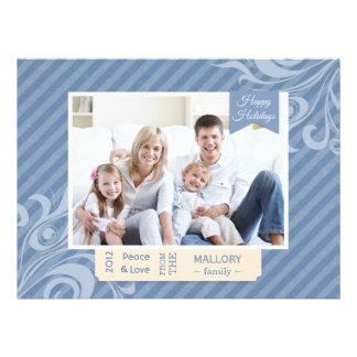 Carte plate de Noël chic de rayure bleue Bristols Personnalisés