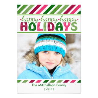Carte plate de Noël coloré de rayures de hanche