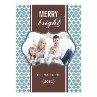Carte plate de Noël de Brown bleu Quatrefoil Bristol Personnalisé