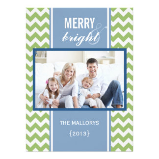 Carte plate de Noël de Chevron de vert bleu Bristols
