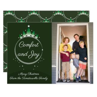 Carte plate de Noël de confort et de joie | de pin