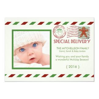 Carte plate de Noël de par avion de livraison Carton D'invitation 12,7 Cm X 17,78 Cm