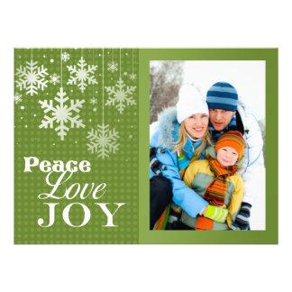 Carte plate de Noël de photo de joie d amour de pa Invitations Personnalisées