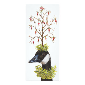 Carte plate de Noël d'oie et de pinson