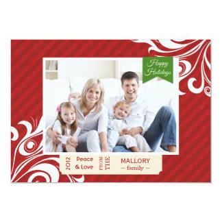 Carte plate de Noël rayé rouge chic Carton D'invitation 12,7 Cm X 17,78 Cm