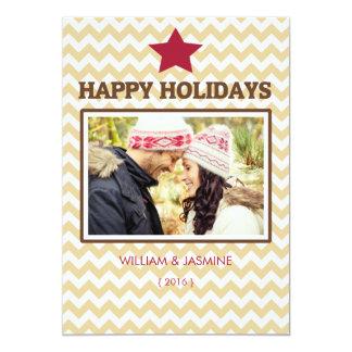 Carte plate de Noël rouge de Chevron Brown Carton D'invitation 12,7 Cm X 17,78 Cm