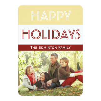 Carte plate de Noël rouge de fête d'or Carton D'invitation 12,7 Cm X 17,78 Cm