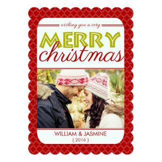 Carte plate de Noël très Joyeux de rouge de Carton D'invitation