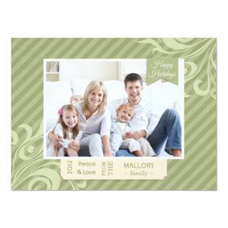 Carte plate de Noël vert chic de rayure Carton D'invitation 16,51 Cm X 22,22 Cm