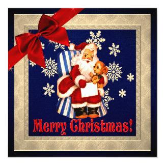 Carte plate de Noël vintage classique de Père Noël