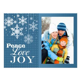 Carte plate de paix d amour de joie de Noël bleu d Cartons D'invitation Personnalisés