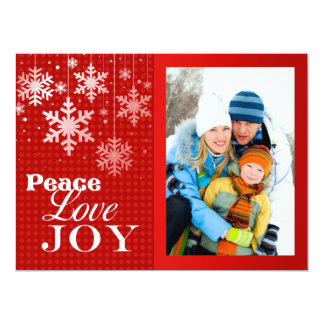 Carte plate de paix d'amour de joie de Noël rouge Carton D'invitation 16,51 Cm X 22,22 Cm