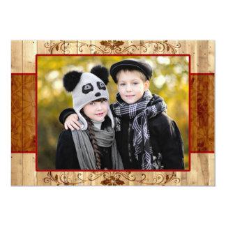 Carte plate de pays de vacances rustiques de photo carton d'invitation  12,7 cm x 17,78 cm