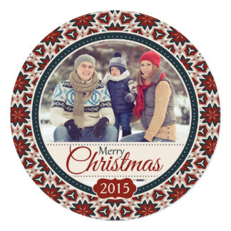 Carte plate de photo confortable ronde de Noël Carton D'invitation 13,33 Cm