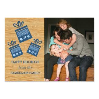 Carte plate de présents de photo rustique bleue de carton d'invitation  12,7 cm x 17,78 cm