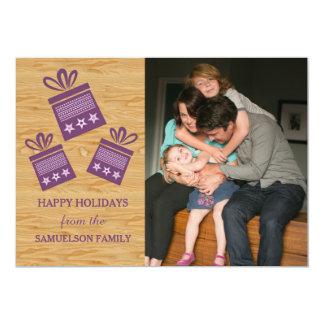 Carte plate de présents de photo rustique pourpre carton d'invitation  12,7 cm x 17,78 cm