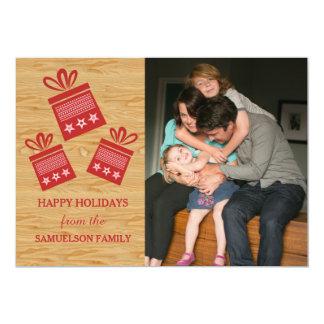 Carte plate de présents de photo rustique rouge de carton d'invitation  12,7 cm x 17,78 cm