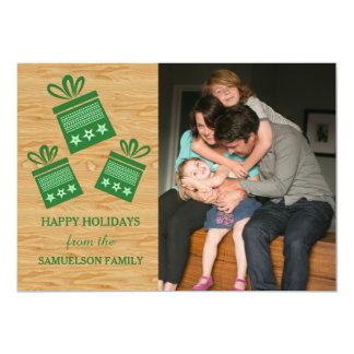 Carte plate de présents de photo rustique verte de carton d'invitation  12,7 cm x 17,78 cm