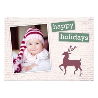 Carte plate de renne de vacances heureuses avec du faire-part personnalisables