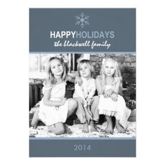 Carte plate de vacances bleues de neige de invitation personnalisable