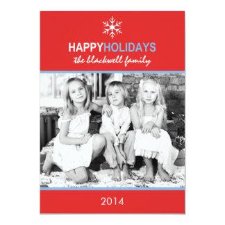 Carte plate de vacances bleues rouges de neige de faire-part