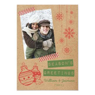 Carte plate de vacances de bande de sucrerie de carton d'invitation  12,7 cm x 17,78 cm