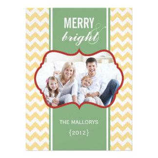 Carte plate de vacances de famille de Chevron Carton D'invitation