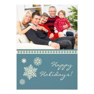 Carte plate de vacances de famille de flocons de n