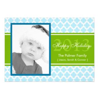 Carte plate de vacances de Quatrefoil de vert bleu