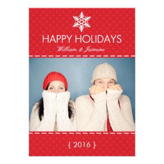 Carte plate de vacances rouges de flocon de neige
