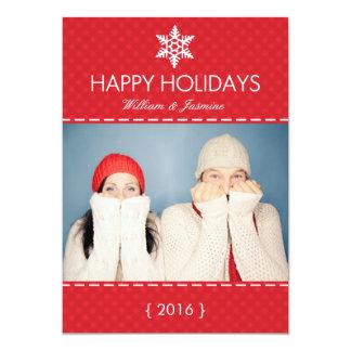 Carte plate de vacances rouges de flocon de neige bristols