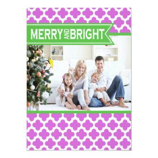 Carte plate de vacances vertes pourpres géniales carton d'invitation  13,97 cm x 19,05 cm