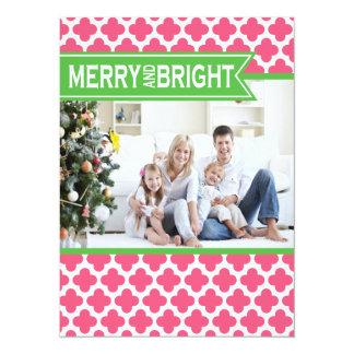 Carte plate de vacances vertes roses géniales de cartons d'invitation personnalisés