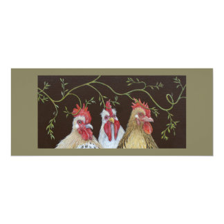 Carte plate de vigne de poulet carton d'invitation  10,16 cm x 23,49 cm