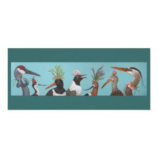 Carte plate d'oiseaux d'eau carton d'invitation  10,16 cm x 23,49 cm
