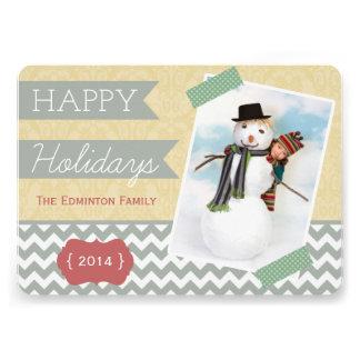 Carte plate élégante de photo de vacances d or et
