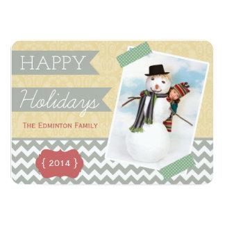 Carte plate élégante de photo de vacances d'or et carton d'invitation  12,7 cm x 17,78 cm