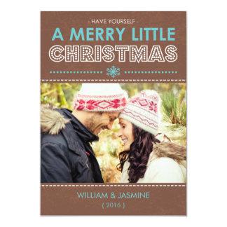 Carte plate Noël moderne de Brown bleu de Joyeux Cartons D'invitation